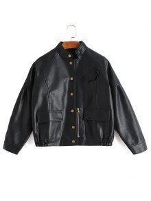 Veste à Boutons En Cuir Faux Leather Avec Poches - Noir Xl