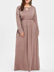 8e52e6da4de 26% OFF  2019 Plus Size Keyhole Maxi Dress In CAMEL