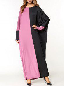 فستان عربي طابق الطول  - الأسود والوردي