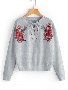 Ate La Camiseta Remendada Floral - Gris S