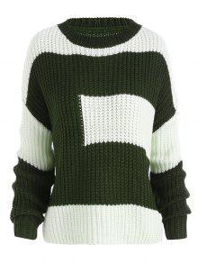 Pull Boyfriend Tricoté Épais Grande Taille Color Block - Vert Foncé