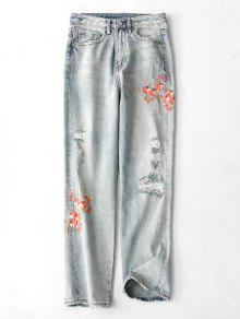 جينز ممزق مطرز بنمط الأزهار - ازرق M