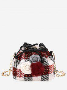 زهرة بوم بوم منقوشة الرباط حقيبة كروسبودي - أحمر