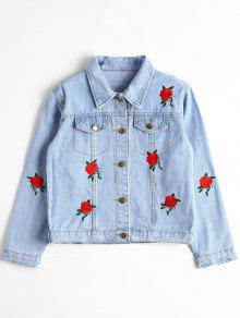 Zaful Denim Floral Embroidered Cropped Jacket