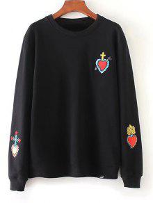 Suéter Bordado Corazón Flojo - Negro S