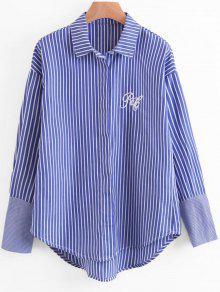 Chemise à Bas Rayé Rayé à La Lettre - Bleu M