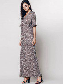 c93be2545c71 60% OFF  2019 Tiny Floral Relaxed Fit Maxi Dress In COFFEE