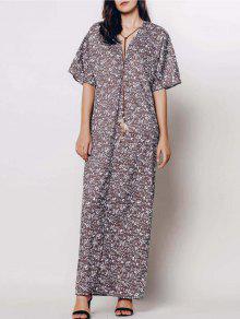 فستان غارق الرقبة ثلاثة أرباع طول الأكمام طباعة الأزهار المصغرة ماكسي - قهوة L