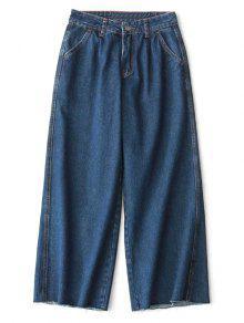 Jean 7/8 Taille Haute à Jambes Larges - Denim Bleu M