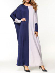 فستان عربي الحجم الكبير - الرمادي والأزرق