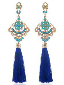 Aleación Grabada Pendientes De Borla De Diamantes De Imitación - Azul