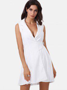 Sin Mangas Plisado Mini Vestido - Blanco S