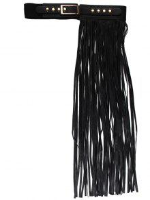 نصف الجانب طويل مهدب بو الجلود حزام - أسود