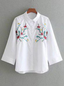 Batwing Loose Floral Brodé Chemise - Blanc L