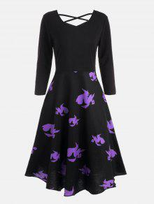 Cross Back Halloween Witches Print Flare Dress - Preto 2xl