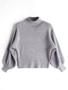 Linterna De Manga Mock Neck Sweater - Gris