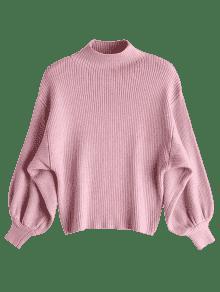 Lantern Sleeve Mock Neck Sweater PINK: Sweaters ONE SIZE | ZAFUL