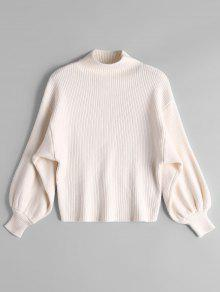 Lantern Sleeve Mock Neck Sweater OFF-WHITE: Sweaters ONE SIZE | ZAFUL