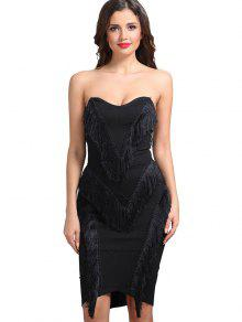 Vestido Sin Tirantes Con Flecos - Negro L