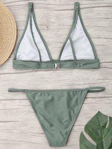 5c271d7324 2019 Plunging Neck Bralette Thong Bikini Set In LIGHT GREEN S