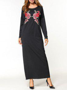 فستان ماكسي طباعة الأزهار  - أسود M