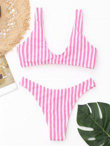 eaed844238 25% OFF] [HOT] 2019 Front Knot Striped Bikini Set In PINK AND WHITE ...