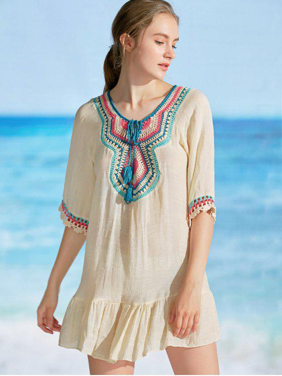 women's Ruffles Crochet Panel Cover Up Dress - APRICOT ONE SIZE