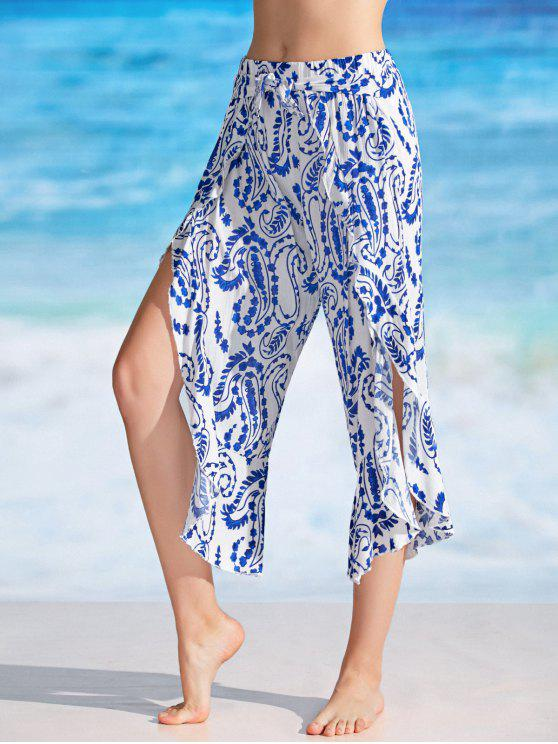 women Self Tie Paisely Tulip Cover Up Pants - WHITE XL