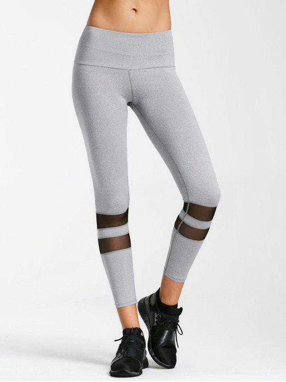 Aktive Yoga Leggings mit Mesh Detail - Grau S