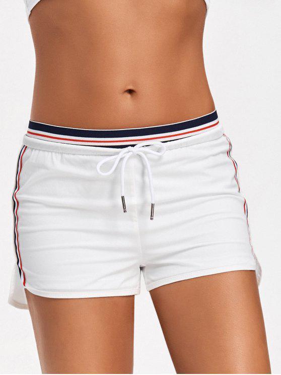 Shorts desportivos de dupla camada listrada - Branco XL