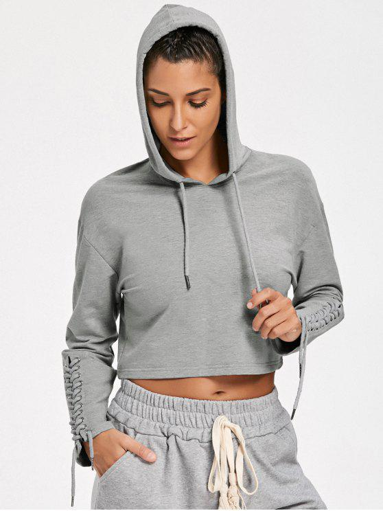 best Cropped Lace Up Sleeve Sporty Hoodie - GRAY L