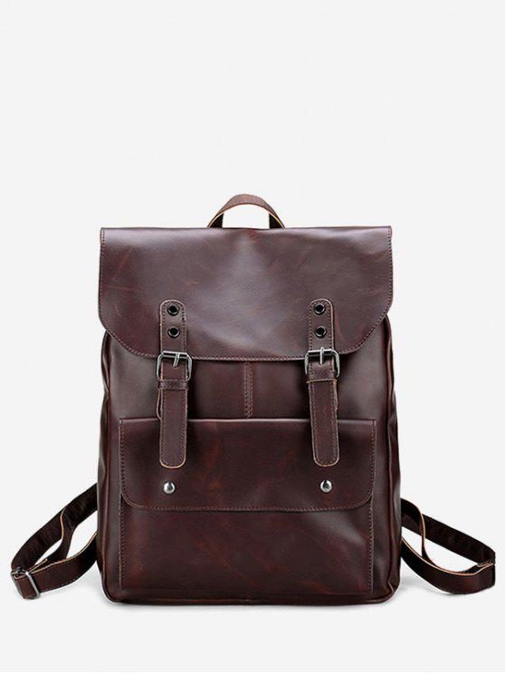 hot Buckle Straps Stud Faux Leather Backpack - BROWN