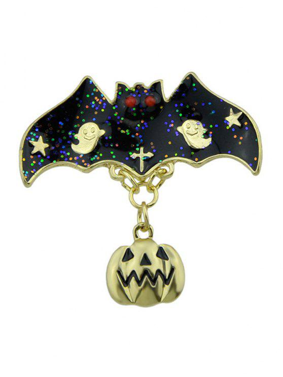 Halloween Pumpkin Ghost Bat Star Brooch - Or