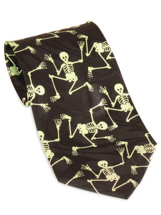 sale Halloween Skeleton Pattern 10CM Width Neck Tie - YELLOW AND BLACK