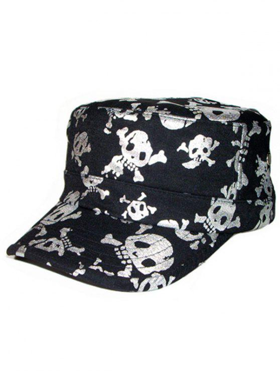 best Shimmer Skull Printed Flat Top Military Hat - SILVER