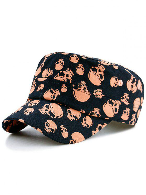new Skull Printed Flat Top Military Hat - PEARL KUMQUAT