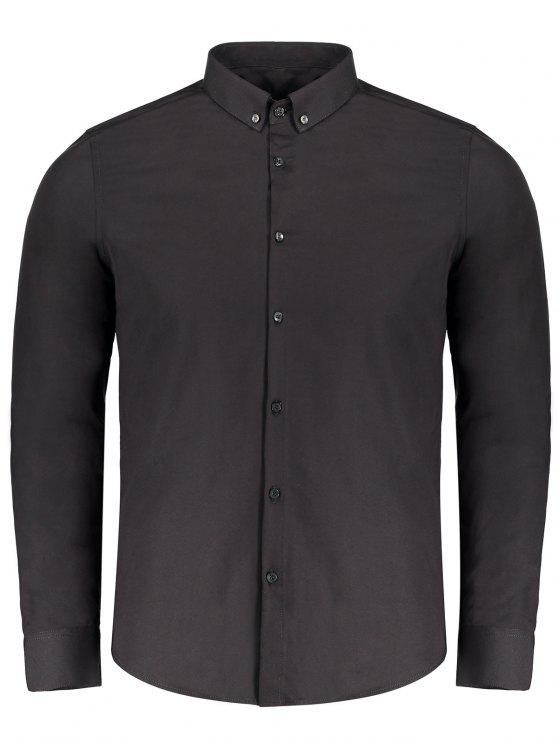 affordable Button Down Shirt - BLACK 2XL