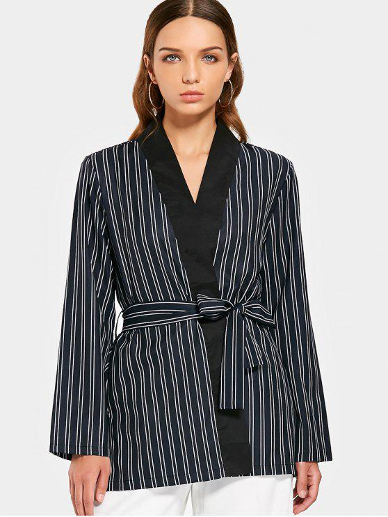 best Long Sleeve Belted Stripes Blazer - STRIPE M