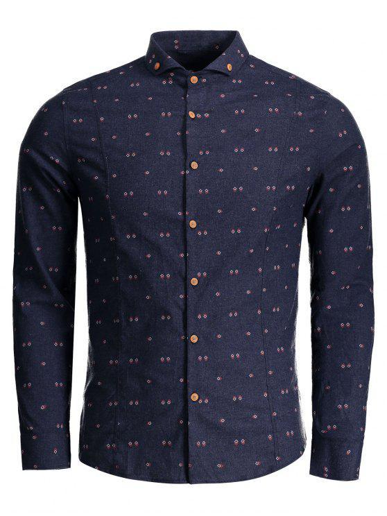 Camisa geométrica del botón de la impresión - Azul 2XL