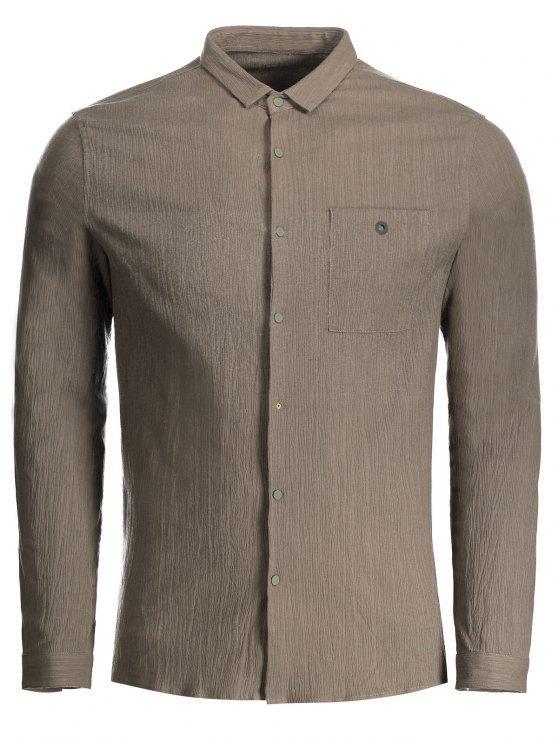 Camisa impresa con botones rápidos - Café XL