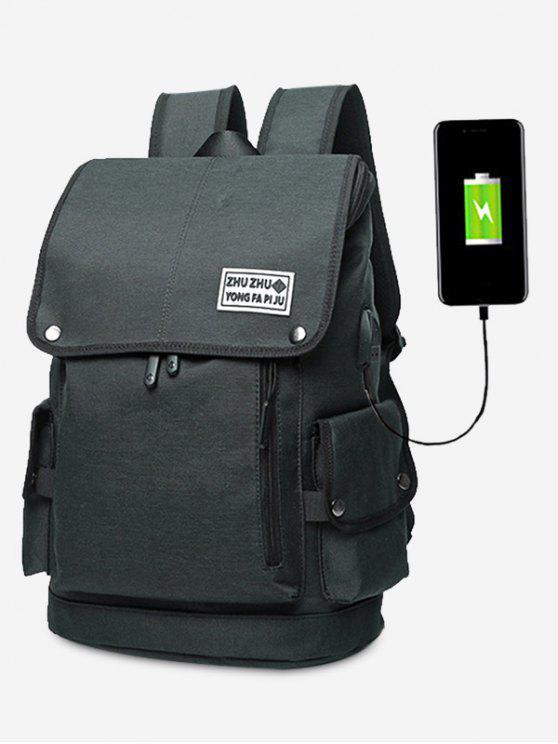 Stud USB-Ladeanschluss Seitentasche Rucksack - Schwarz