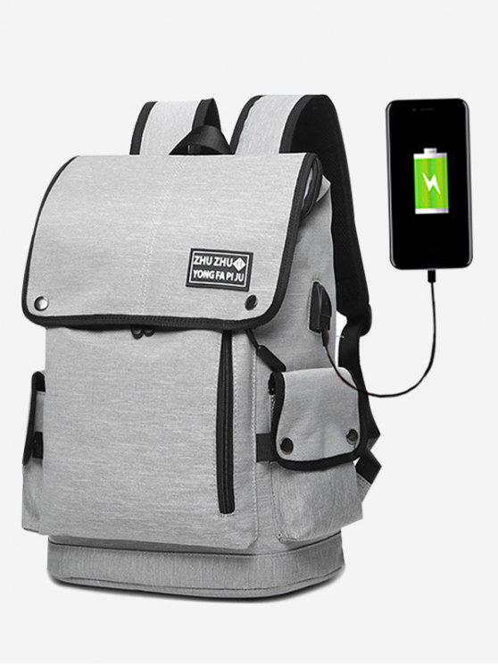 shops Stud USB Charging Port Side Pocket Backpack - GRAY