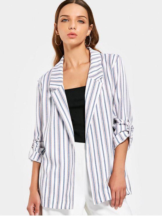 latest Buttoned Tabs Stripes Blazer - STRIPE M
