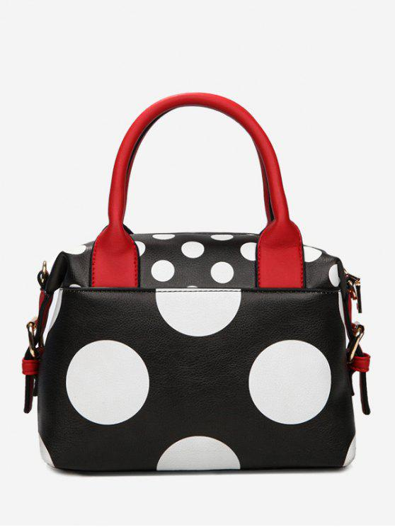 ladies Faux Leather Polka Dot Totes - BLACK