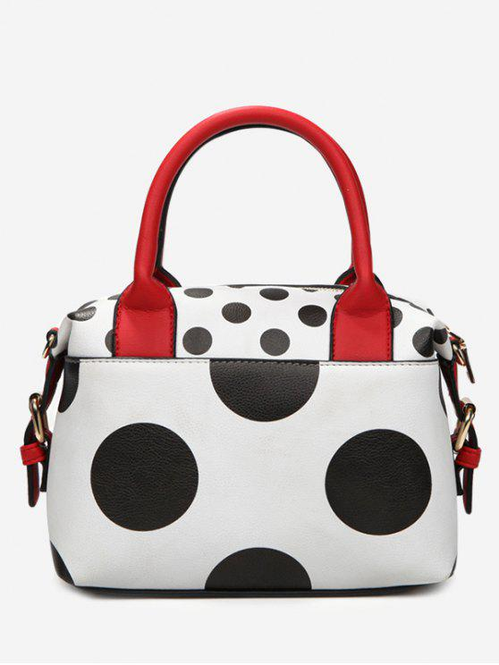 Faux Leather Polka Dot Totes - Blanc