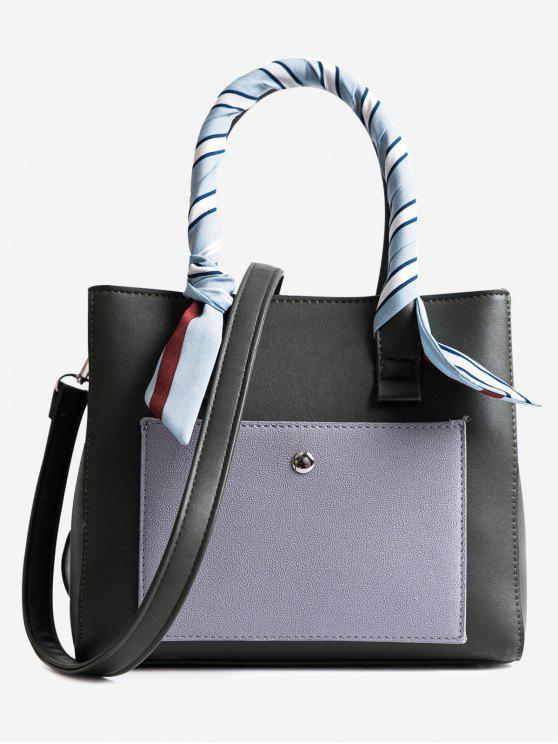chic Color Block Ribbon Tote Bag - GREEN