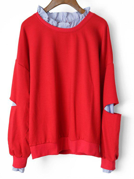 Cutout Ruffles Stripes Panel Sweatshirt - Red