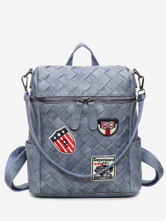buy Badge Braided Backpack - BLUE