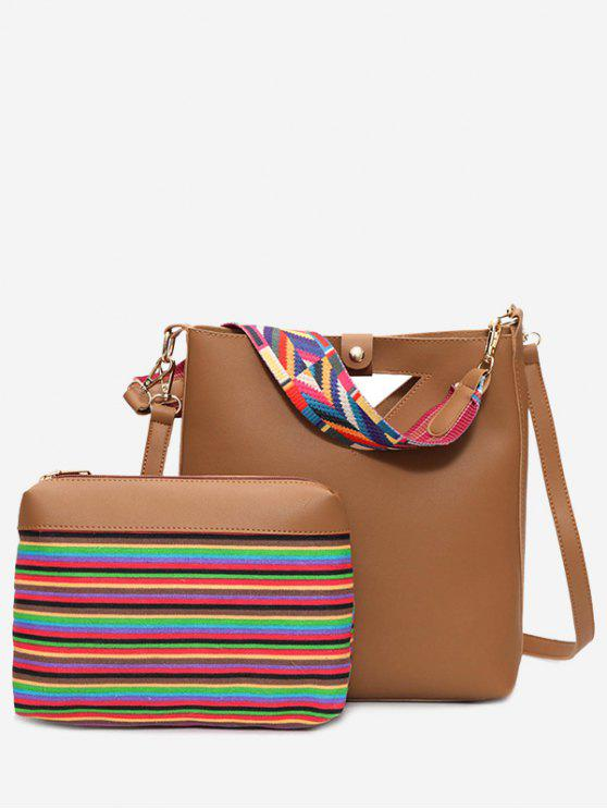 best Hollow Out Rainbow Striped Crossbody Bag Set - BROWN