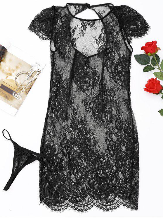 Robe de Nuit Transparente en Dentelle et Slip en T - Noir Taille Unique